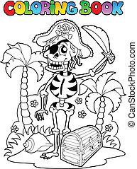 1, thème, livre coloration, pirate