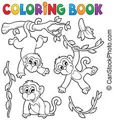1, thème, livre coloration, singe