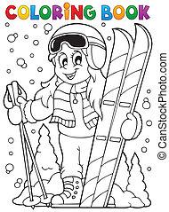 1, thème, livre coloration, ski