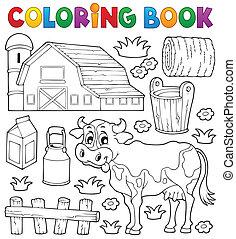 1, thème, livre coloration, vache