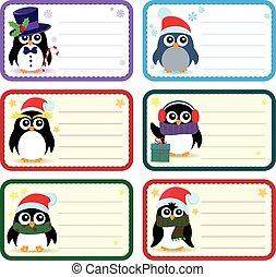 1, thème, pingouins, noël, étiquettes