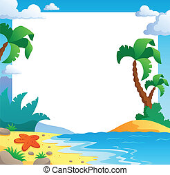1, thème, plage, cadre