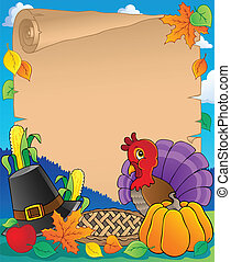 1, thème, thanksgiving, parchemin