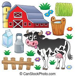 1, thème, vache, collection