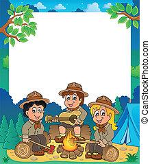 1, thématique, cadre, enfants, scouts