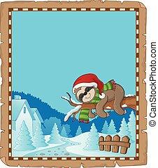 1, thema, faultier, pergament, weihnachten