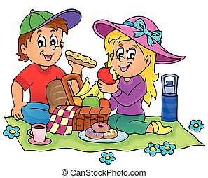 1, thema, picknick, beeld