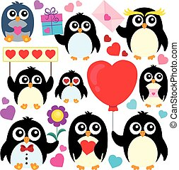 1, thema, pinguine, sammlung, valentine