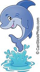 1, thema, springende , delfin, bild