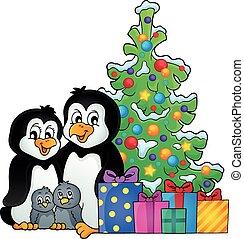 1, thema, weihnachten, familie, pinguin