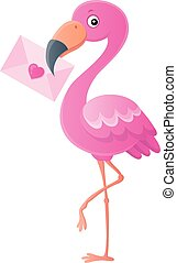 1, topic, flamant rose, lettre amour