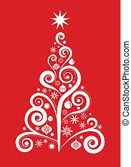 1, träd, -, jul