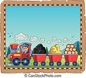 1, tren, materiales, vario, pergamino