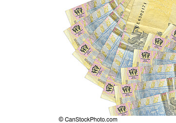 1 Ukrainian hryvnia bills lies isolated on white background with copy space. Rich life conceptual background