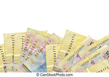 1 Ukrainian hryvnia bills lies on bottom side of screen isolated on white background with copy space. Background banner template