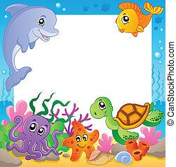 1, undervattens, ram, djuren