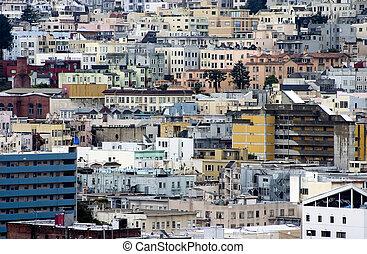 1, urbain, bâtiments, dense