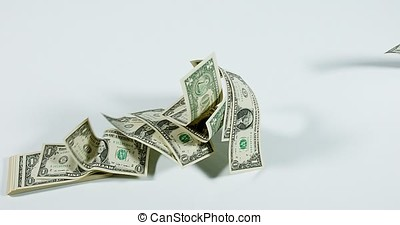1 US Dollar Banknotes flying against White Background, Slow Motion 4K