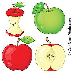 1, vário, maçãs, cobrança