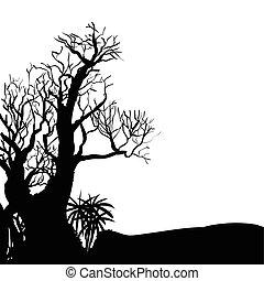 1-vector, halloween, arbre, illustration, main, dessin