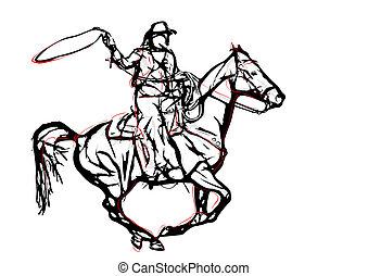 1, vektor, ábra, cowboy