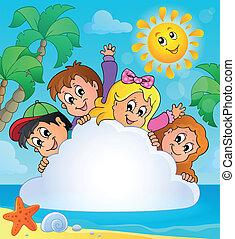 1, verão, tema, imagem, feriados