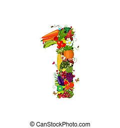 1, verdure fresche, numero, frutte