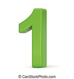 1, vert clair, nombre, 3d