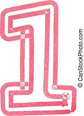 1, vettore, numero, illustrazione