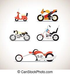 1, voiture, ensemble, plat, icône