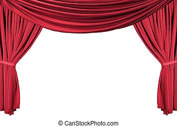 1, vorhänge, theater, reihe, drapiert, rotes