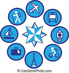 1, -, voyager, icônes