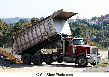 1, vrachtwagen, stortplaats