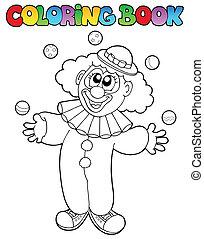 1, vrolijk, kleurend boek, clown