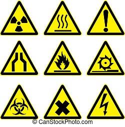 1, waarschuwend, set, tekens & borden