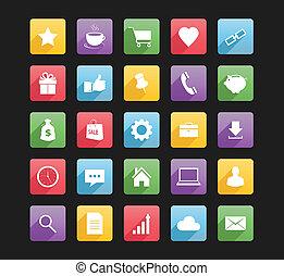 1, web, set, icone