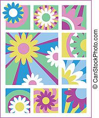 1, weinig; niet zo(veel), bloem, ontwerpen