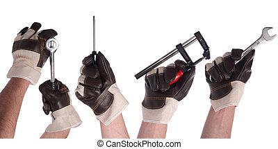 1, werktuig, set, hand