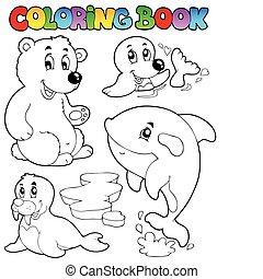 1, wintertime, coloração, animais, livro