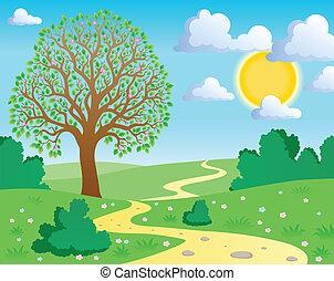 1, wiosna, temat, krajobraz