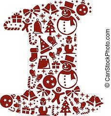 1, witte , getal, achtergrond, kerstmis