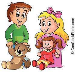 1, wizerunek, dzieci, temat, zabawki