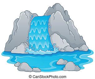1, wizerunek, wodospad, temat