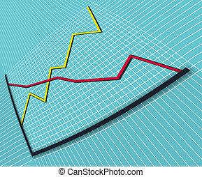 1, wykres, perspektywa, handlowy, wykrzywiony