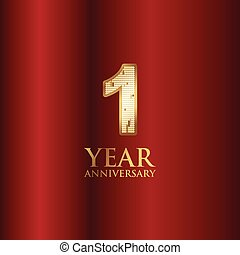 1 Year Anniversary Gold With Red Background Vector Template Design Illustration