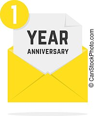 1 year anniversary icon in yellow letter