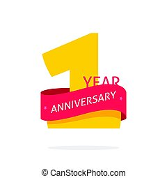 1 year anniversary logo, 1st anniversary icon label, one year birthday symbol isolated