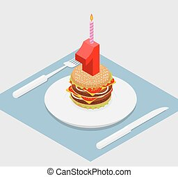 1 year birthday burger. Number one with candle. holiday Hamburger anniversary celebration. Festive fast food. Happy festive