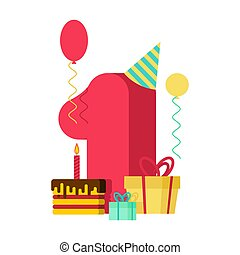 1 year Happy Birthday greeting card. 1th anniversary celebration Template. One figure and festive piece of cake with candle. Balloon and Gift box.