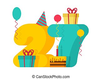 1 year Happy Birthday greeting card. 1th anniversary celebration Template. One number and festive piece of cake with candle. Balloon and Gift box.